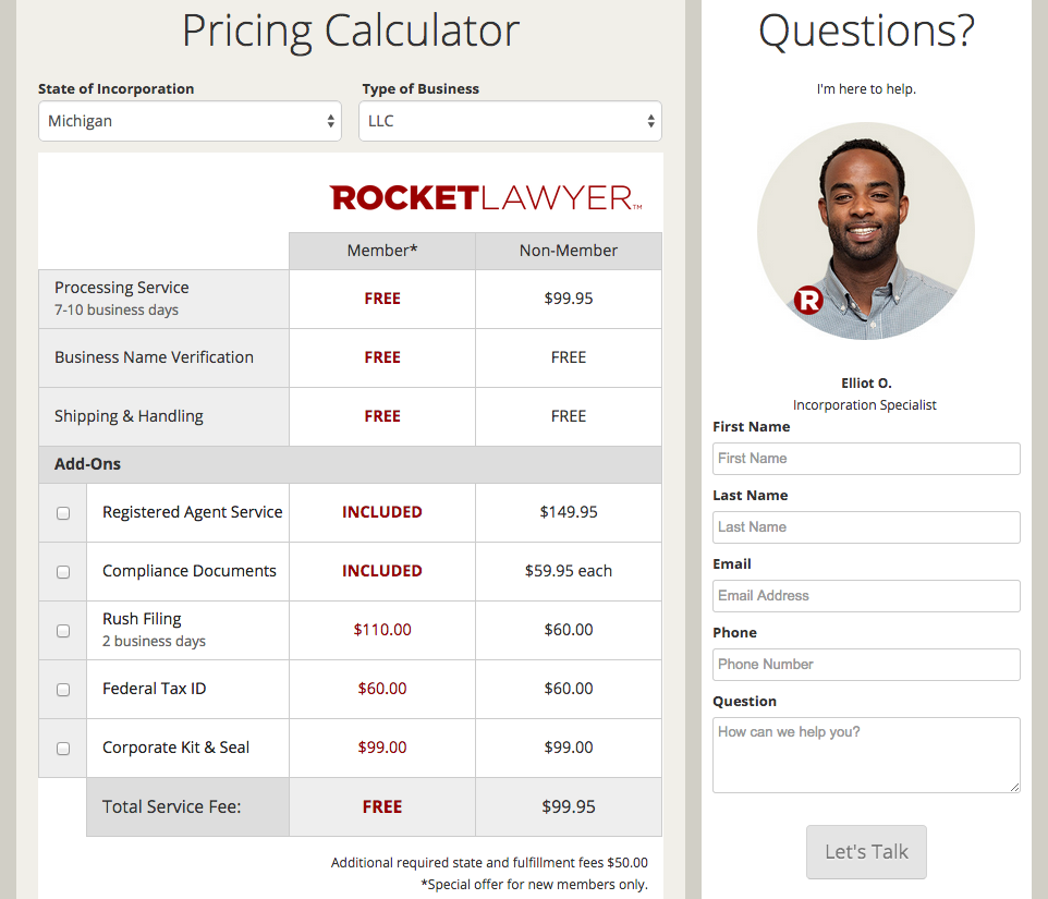 Rocket Lawyer Incorporation Pricing