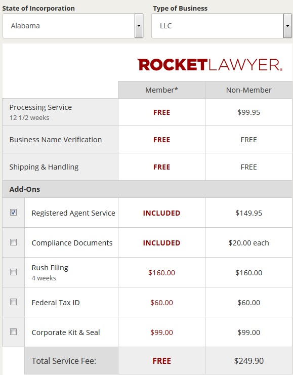 Rocket Lawyer Pricing Table