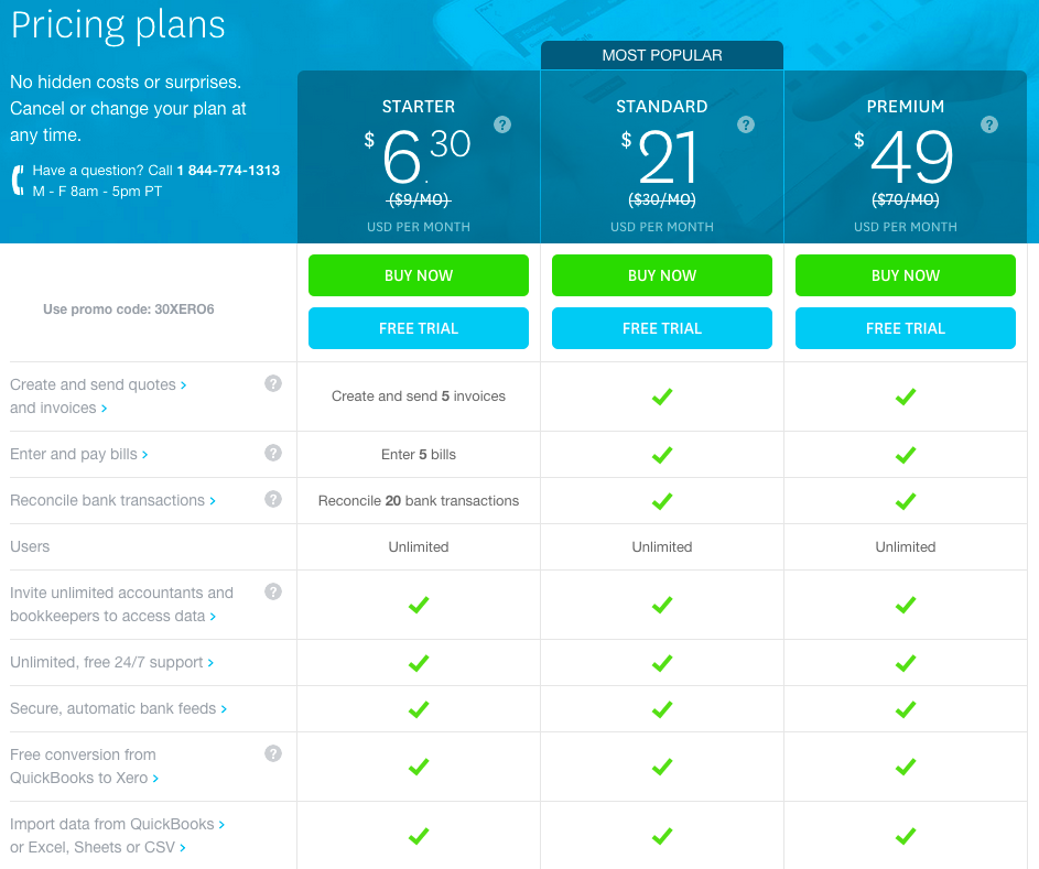 Xero Pricing and Features
