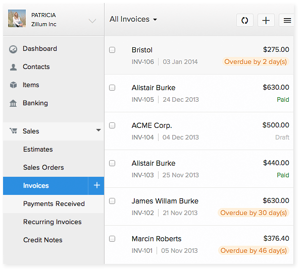 Zoho Books Invoicing