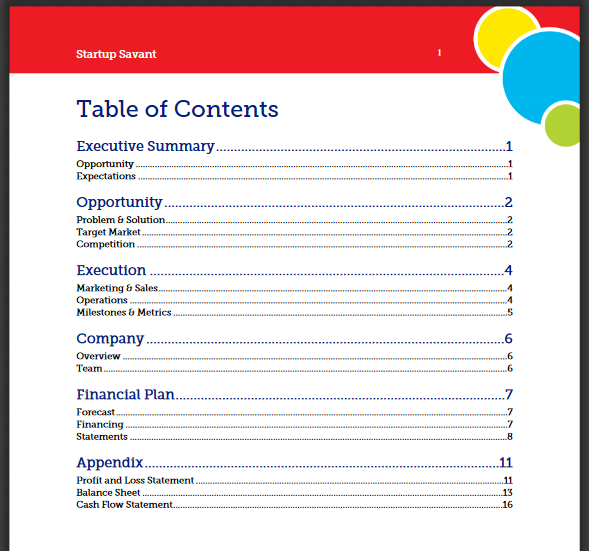 Example Business Plan Table of Contents