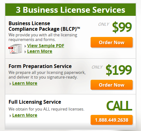 CorpNet Business License Services Pricing