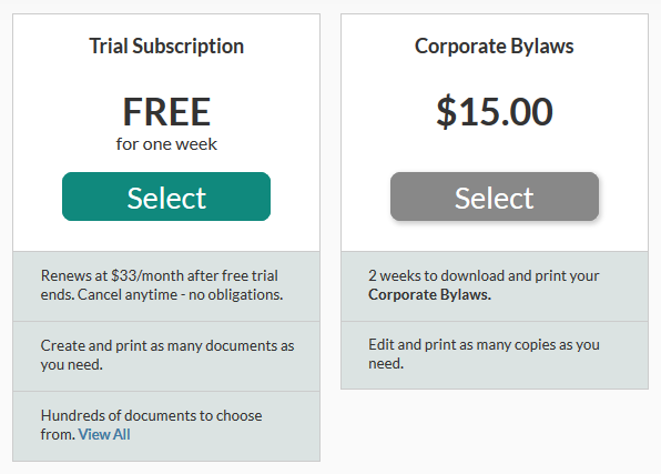 LawDepot Corporate Bylaws Pricing