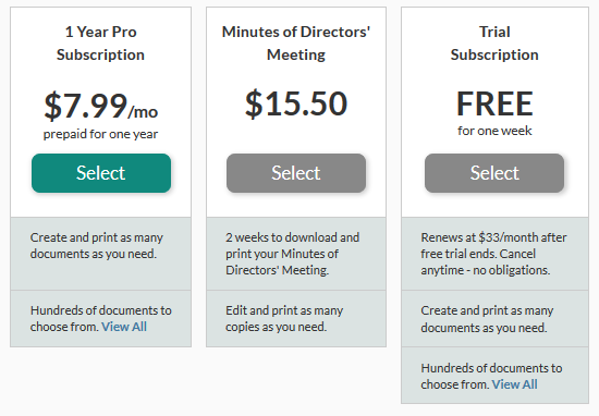 LawDepot Pricing Structure