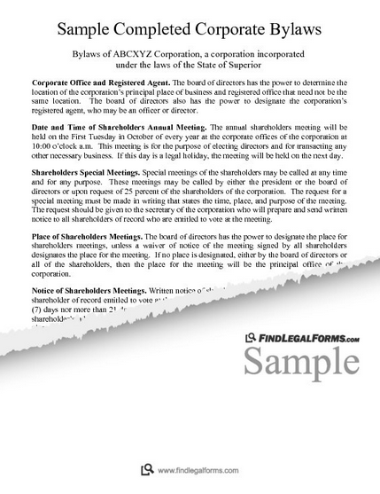 Sample Completed Corporate Bylaws FindLegalForms