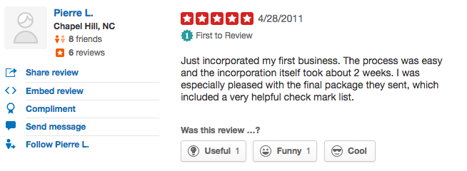 Bizfilings Yelp Review 1