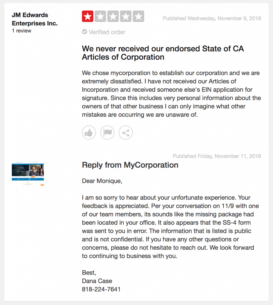 Customer Review MyCorporation