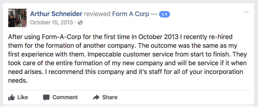 Form-A-Corp Customer Review