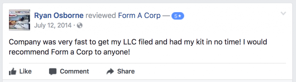 Form-A-Corp Customer Reviews