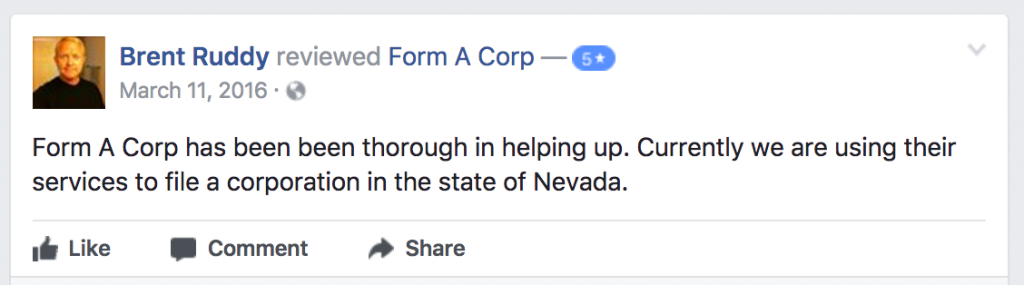 Form-A-Corp Customer Reviews Online