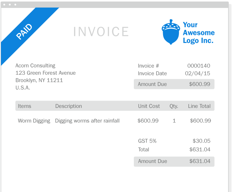 Freshbooks professional invoice