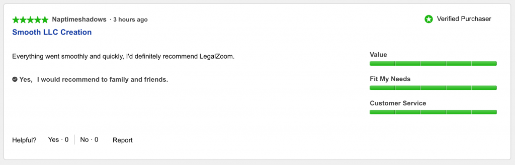 LegalZoom Customer Review