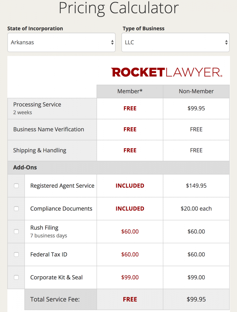 Rocketlawyer Pricing Calculator