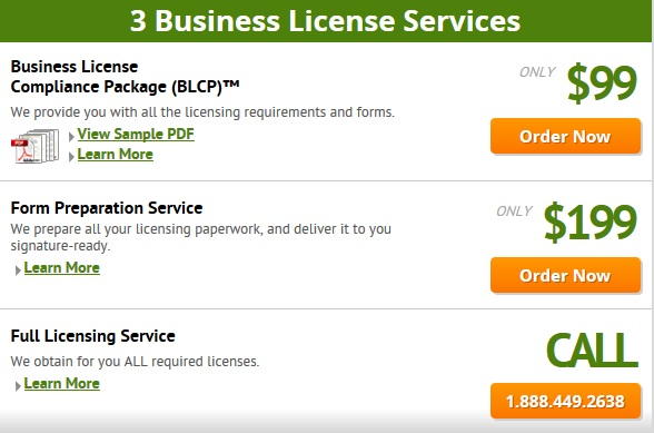 CorpNet Business License Service Pricing