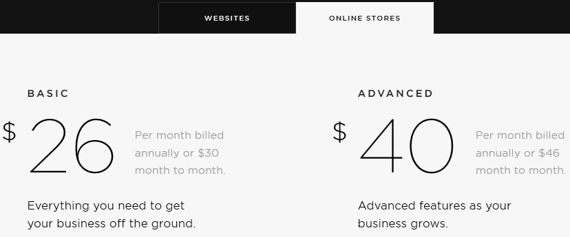 Squarespace Pricing Online Stores