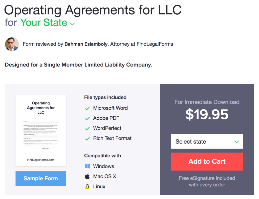 FindLegalForms.com LLC Operating Agreement Review