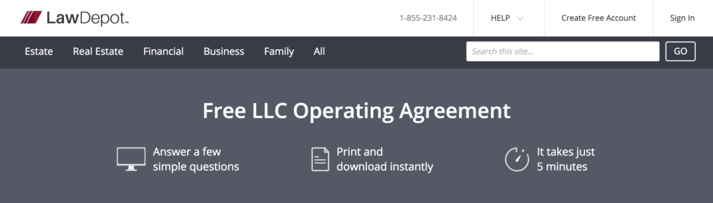 LawDepot LLC Operating Agreement