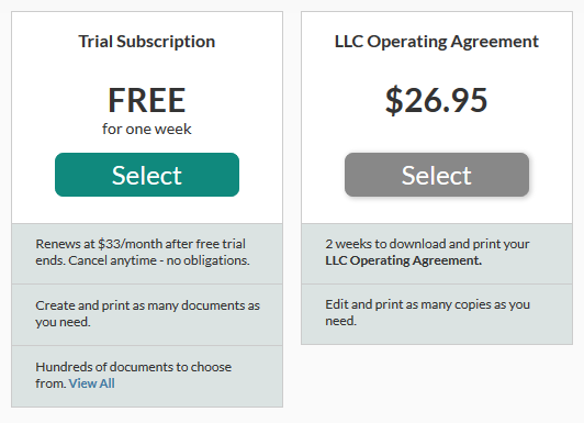 Lawdepot LLC Operating Agreement pricing