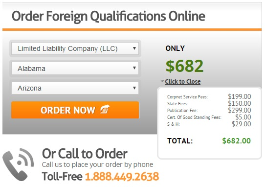 CorpNet Foreign Qualification Service Pricing