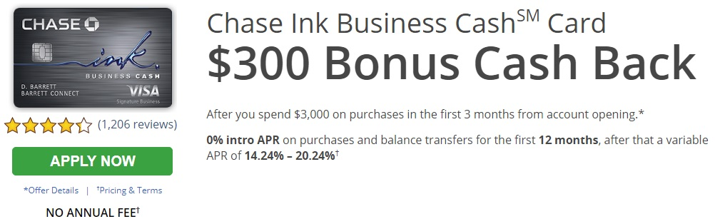 Chase Ink Business Cash Credit Card Fees & Features