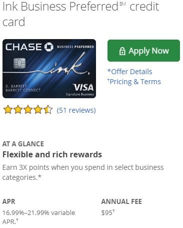 Chase Ink Business Preferred card fees
